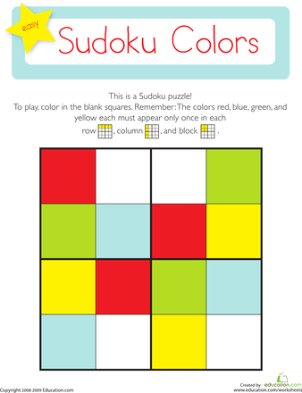 Sudoku Colors Worksheets Maths And Kindergarten Math Worksheets