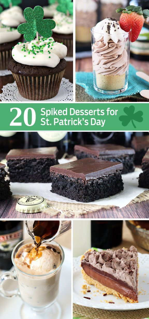20 Spiked Desserts that are perfect for St. Patrick's Day! Lots of Baileys and Guinness recipes!