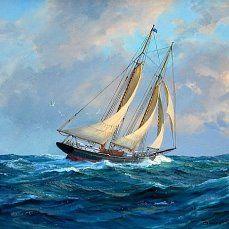 Одноклассники   Картины с океаном, Картины кораблей ...