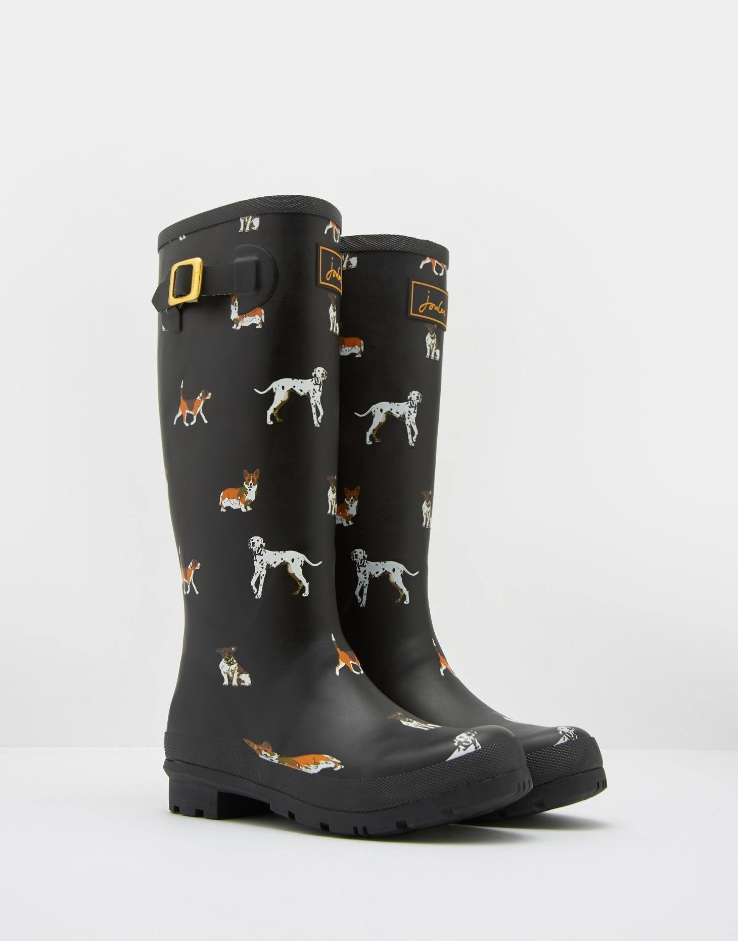 46052d0e771 Preppy Forever in doggie rainboots-Printed Black Dog Rain Boots