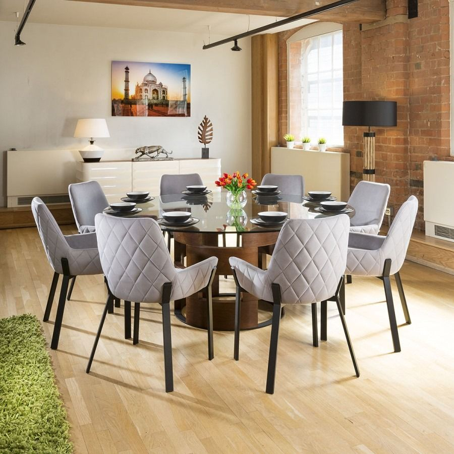 Large Round Glass Top Walnut Dining Table 8 Light Grey Chairs