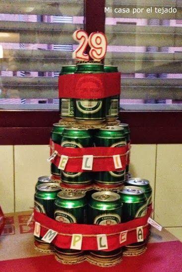 mi casa por el tejado tarta de latas de cerveza