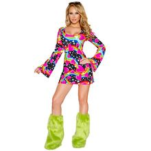 9a34fbd288ac6 60s 70s Happy Hippie Cosplay Fancy Dress Women Halloween Disco Party ...
