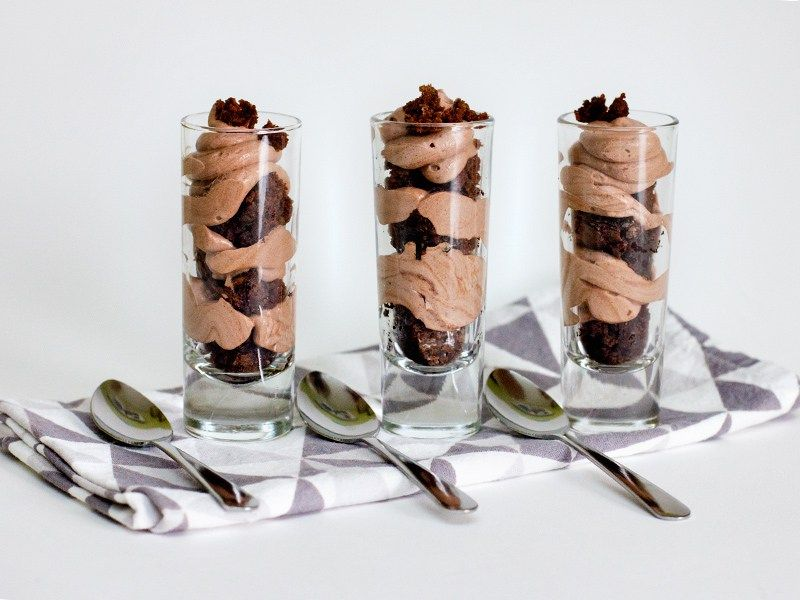 Chocolate mousse and brownie shot glass dessert shot