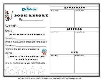 dr seuss book report freebie
