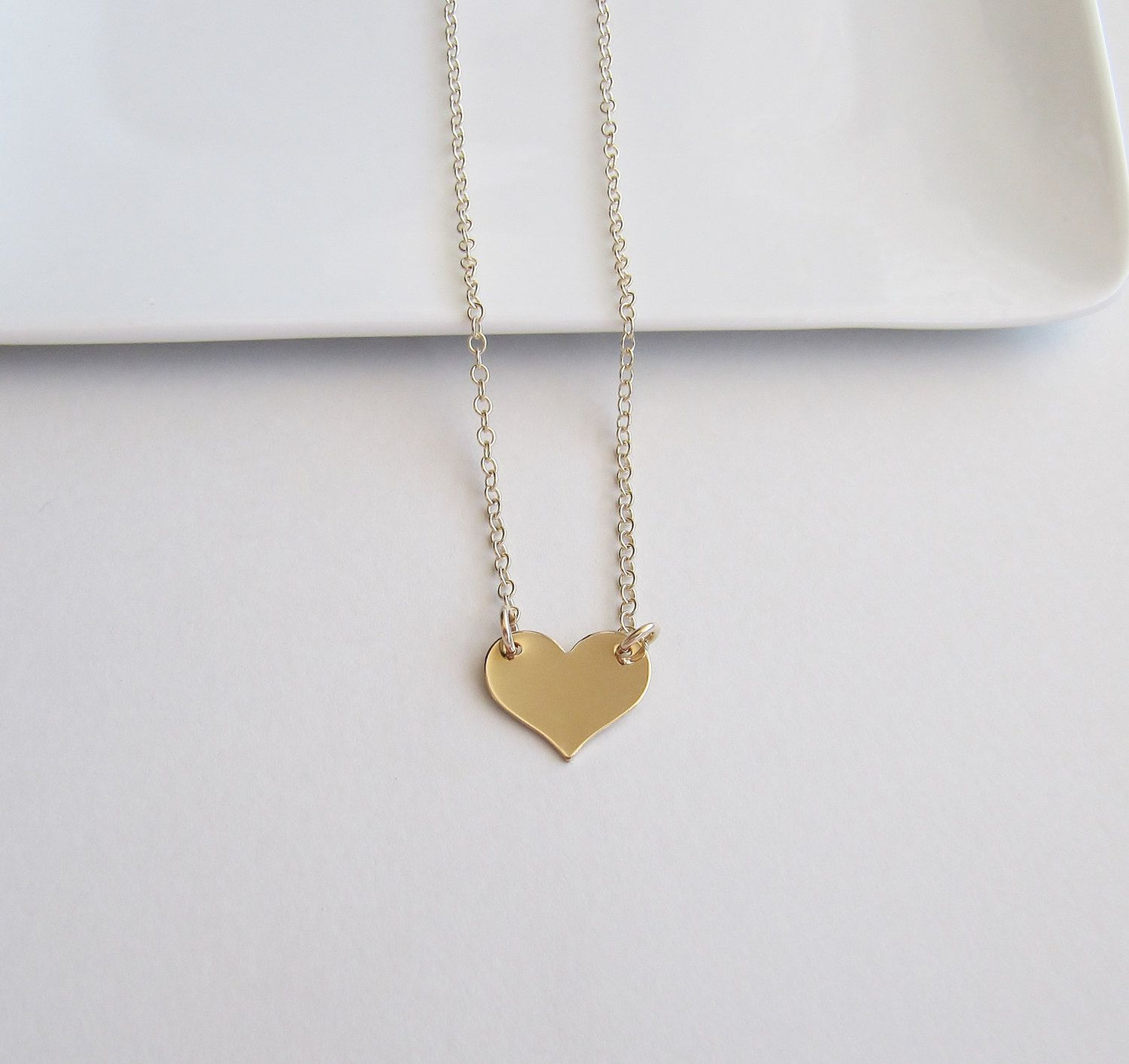Photo of Gold Heart Necklace, Tiny Heart, Dainty Heart Necklace,14kt Gold Filled Jewelry,Minimalist Necklace,Layering Necklace,Sentimental Jewelry