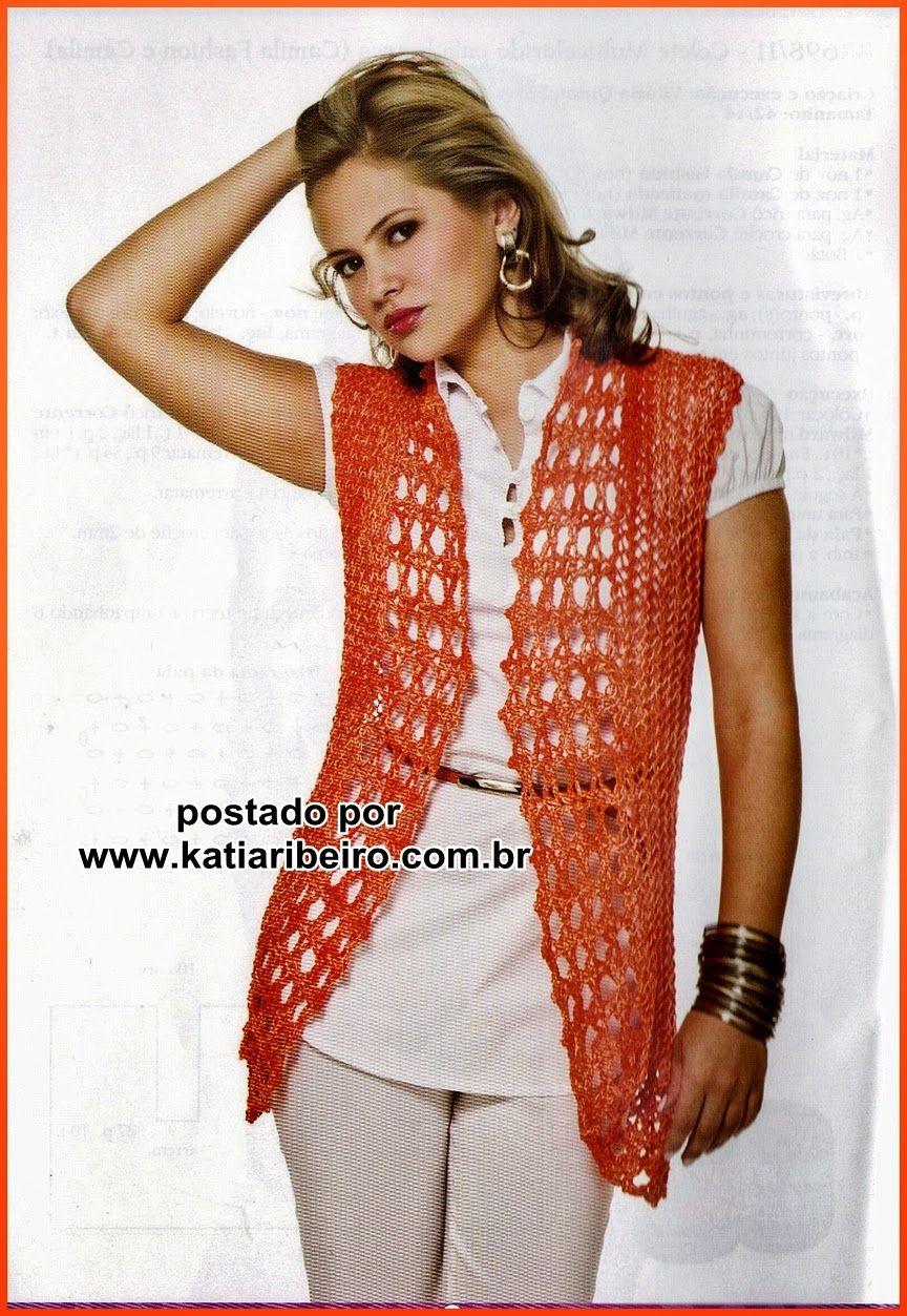 4f3348be67a28 Colete em tricô e crochê criação Vitória Quintal com receita e gráfico - Katia  Ribeiro Crochê Moda e Decoração Handmade