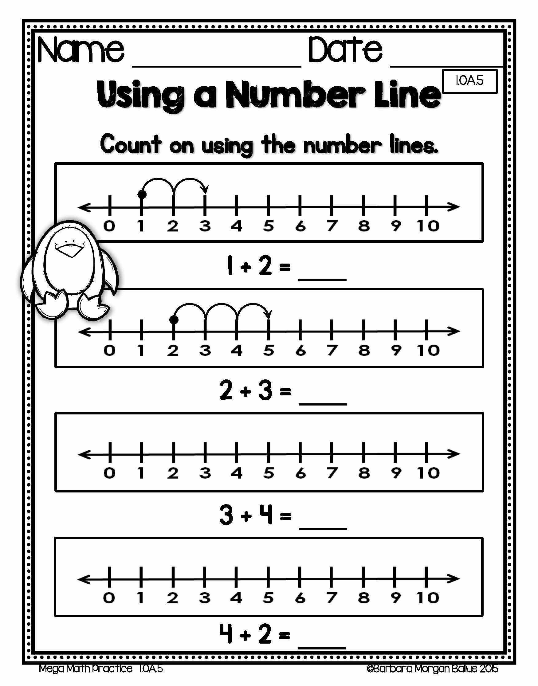 86 Free Number Line Worksheets For Grade 1 Printable
