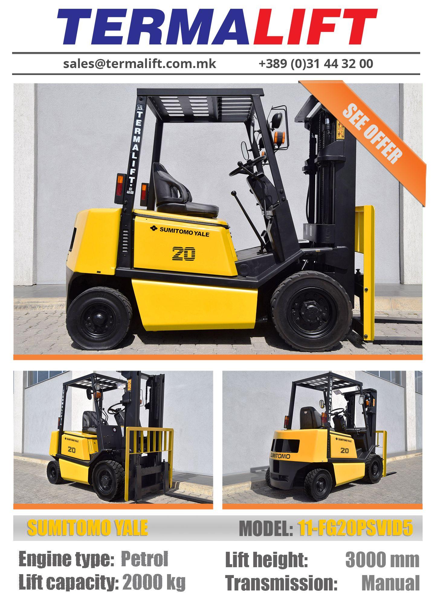 YALE | Forklift | Model: 11-FG20PSVID5 | Engine type: Petrol | Lift  capacity: 2000 kg | Lift height: 3000 mm | Transmission: Manual | #forklift  #yale ...