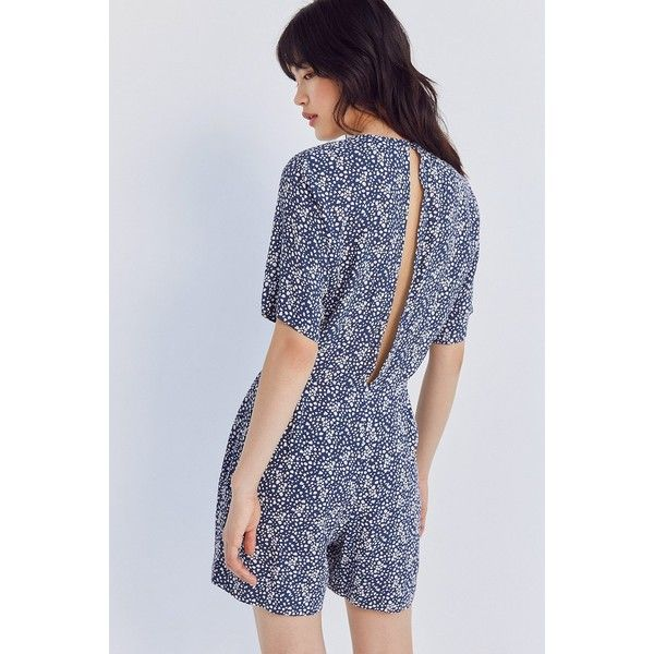 Just Female Dotted Floral Romper ($118) ❤ liked on Polyvore featuring jumpsuits, rompers, floral romper, flower print romper, floral print romper, playsuit romper and polka dot romper