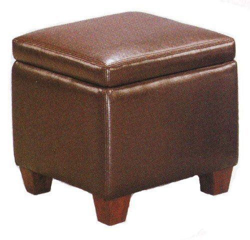 Brown Faux Leather Storage Ottoman Foot Stool Hassock By Coaster