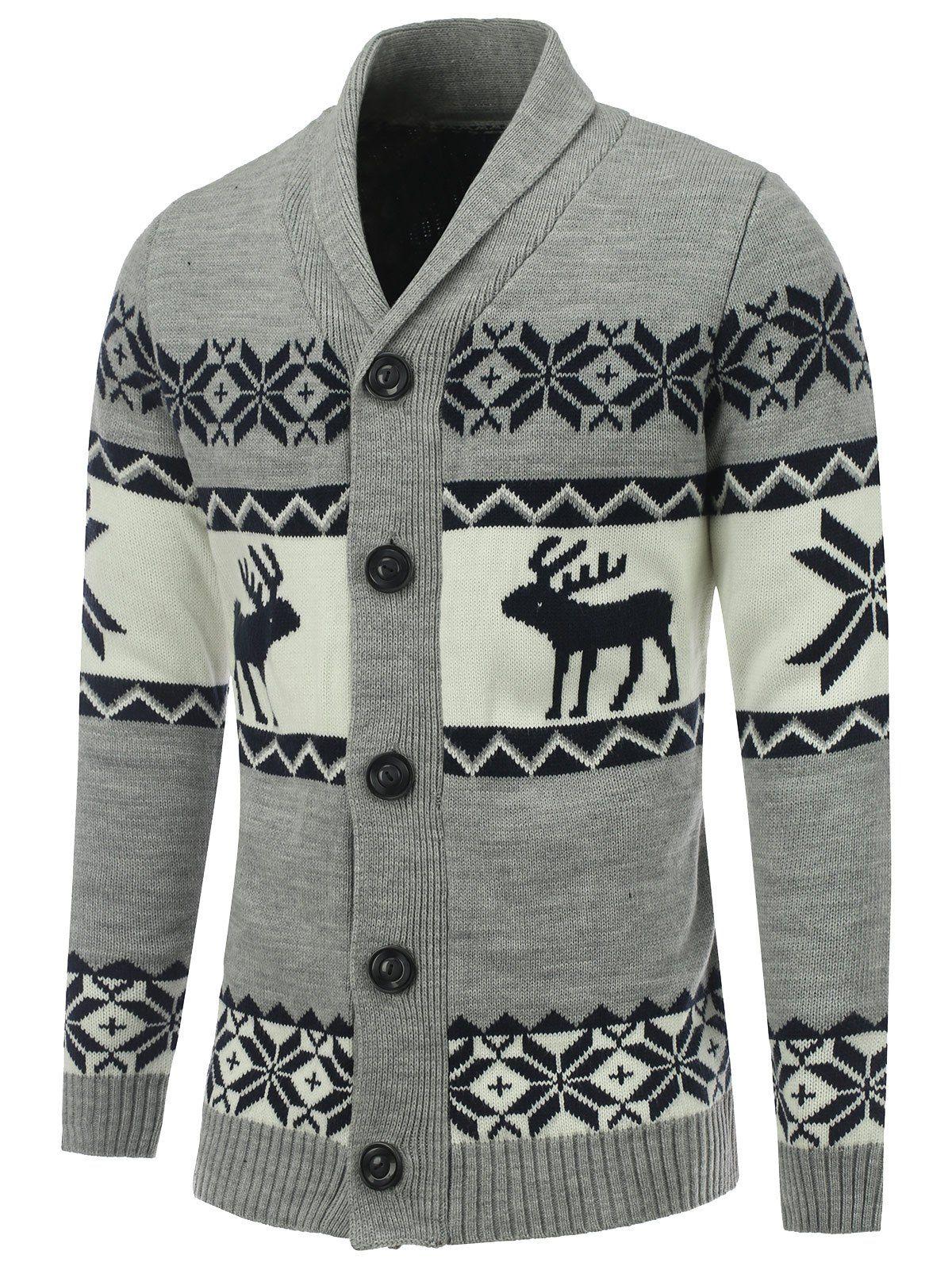 Sweater Christmas Men Christmas Reindeer Snow Snowflakes Sweater Pullover Men Jumper Sweaters