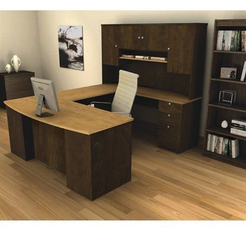manhattan ushaped computer desk with hutch included gorgeous two tone looks with