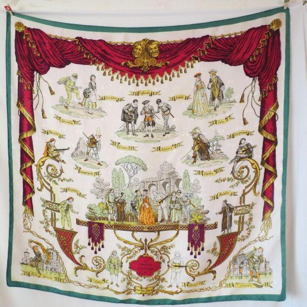 foulard carré hermès rare de collection, le doux, comédie italienne ... c7d3a862644