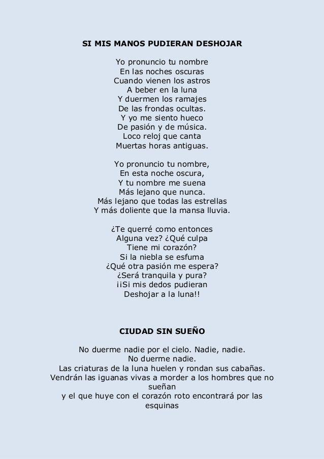 Selección Poemas Lorca Poemas Garcia Lorca Poemas Y Lorca
