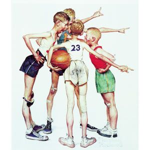 Four Sporting Boys: Basketball  Norman Percevel Rockwell