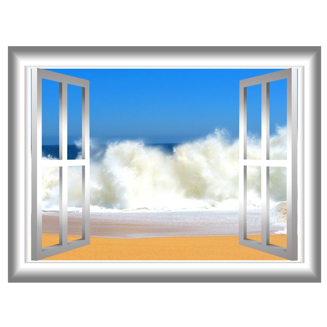 Beach Waves Window Frame Peel And Stick Vinyl Wall Decal Vinyl