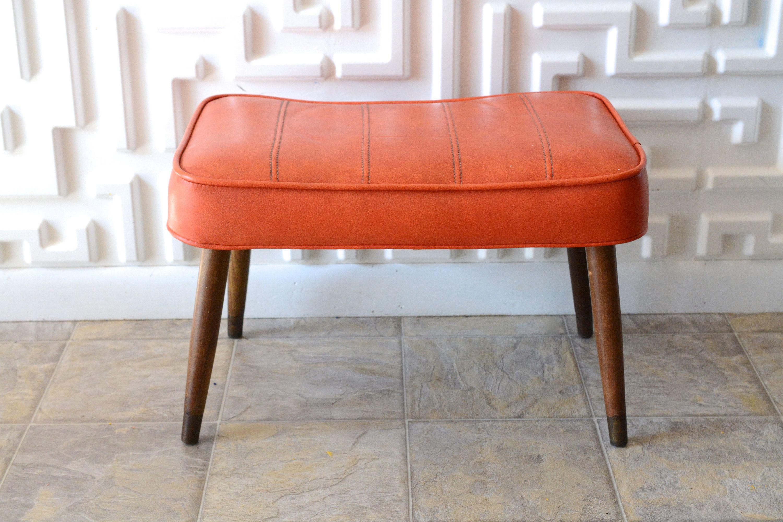 Midcentury Modern Footstool Ottoman Vinyl Orange Peg Leg Mcm 1960s Modern Footstool Footstool Orange Ottoman
