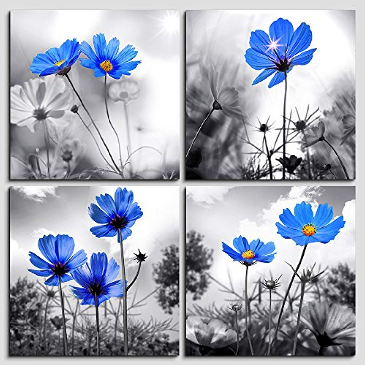 8538042cf66 Wall Art For bedroom Black and White cyan blue flower Canvas Wall Decor for  Home Decor