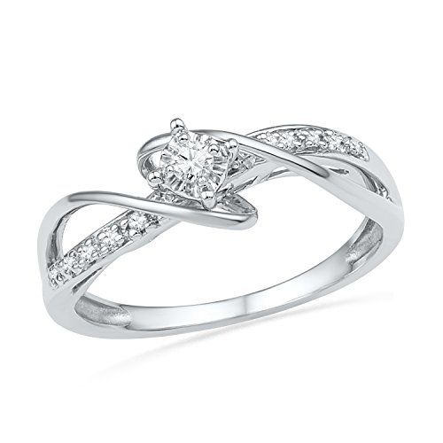 Sterling Silver White Round Diamond Fashion Ring 012 Cttw * More info could be found at the image url.