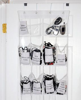 use a shoe organizer to store all those cords