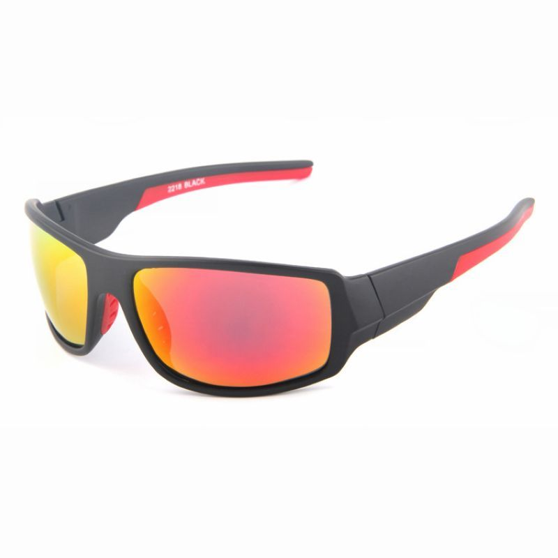 e198a2fbbb4c HD Polarized Sports Sunglasses Protective Eyewear For Men Black Red Mirror  Red