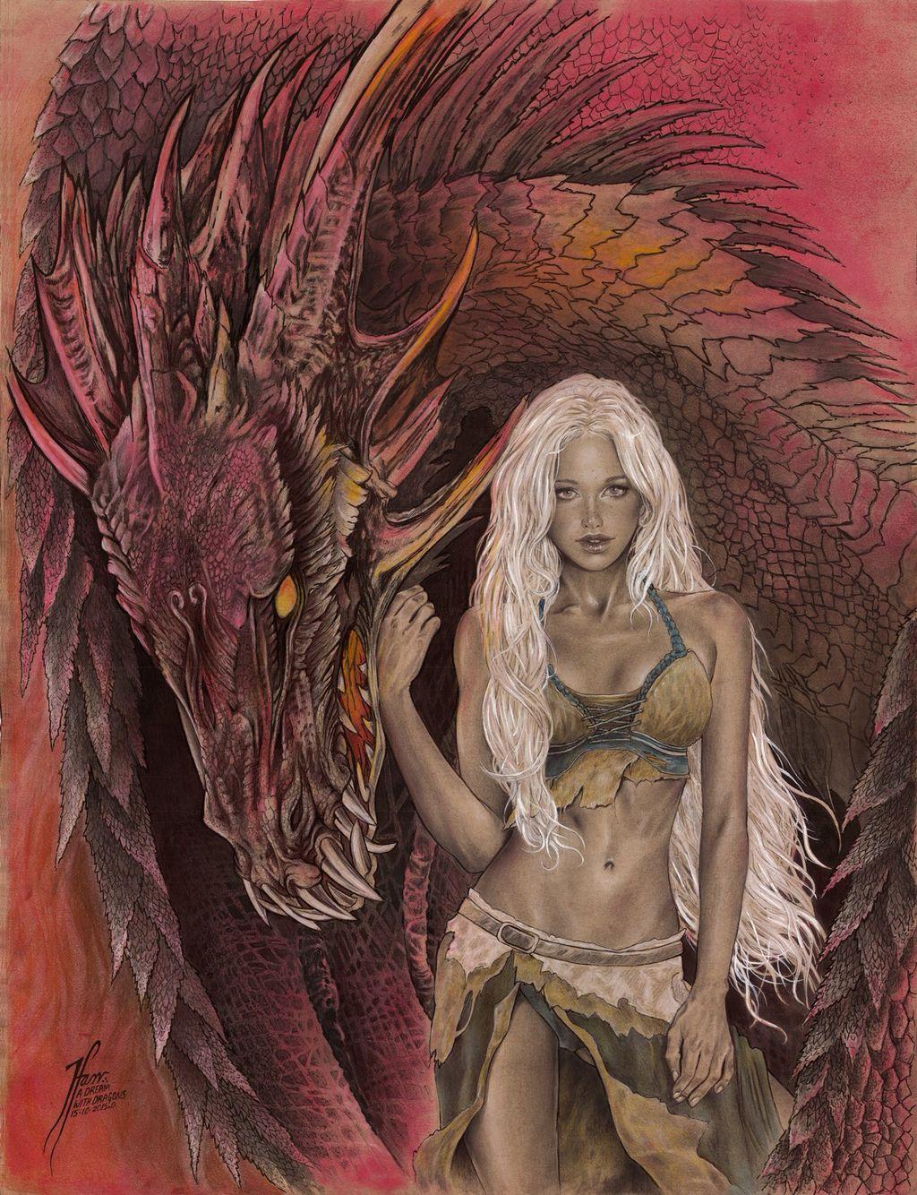 """A Dream with Dragons"" my interpretation of Daenerys Targaryen with her Drogon   #gameofthrones #asongoficeandfire #dragon #reddragon #artoftehanifarr #targaryen #daenarys #illustration"