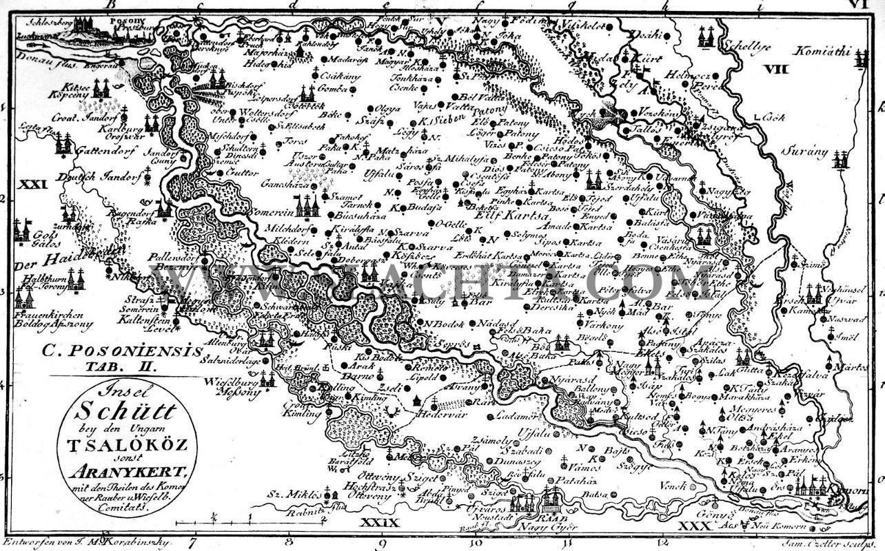 Bratislava tab.2 - Stránka o šľachtických rodoch  Historical map of Bratislava county