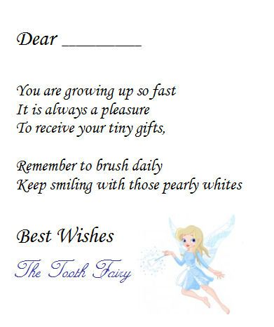Note From Tooth Fairy Printable