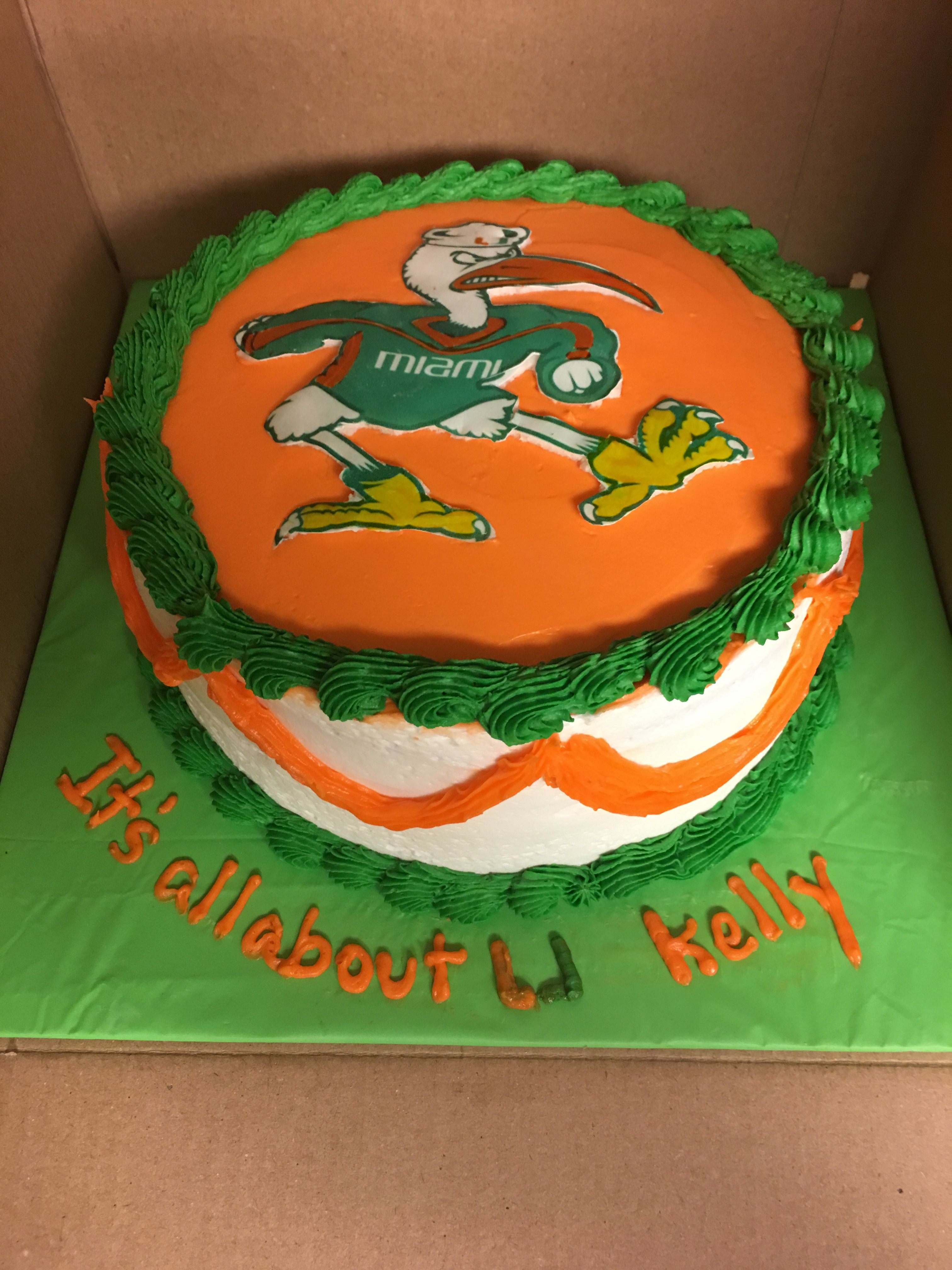 8 Round Miami Hurricanes Birthday Cake Image Is A Sugar Image With