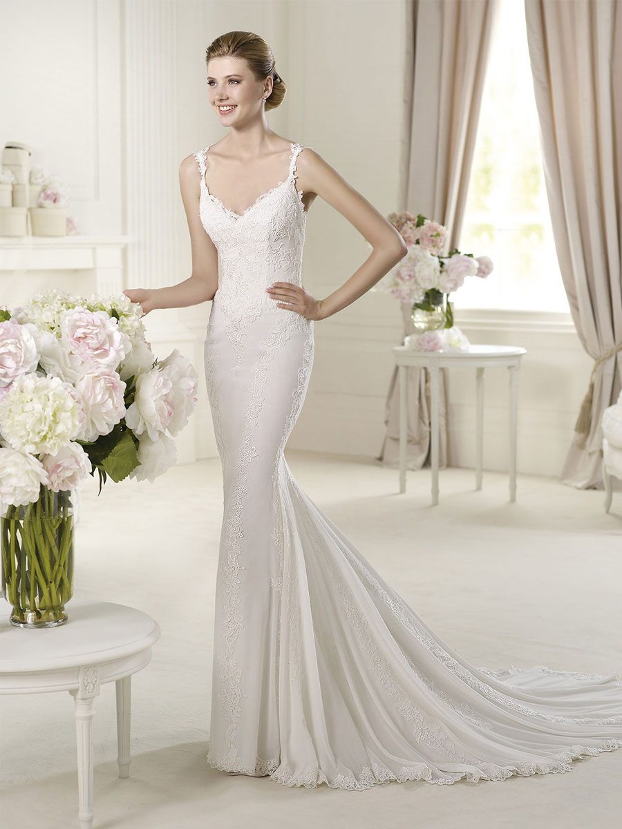 Lace dress wedding  Straps Vneck Lace Mermaid Wedding Dress with Lineal Embellishments