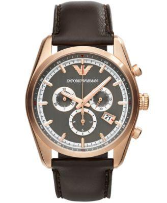 208ff4253ce9 Emporio Armani Unisex Chronograph Brown Leather Strap Watch 43mm AR6005