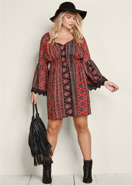 Bohemian Wrap Dress Plus Size