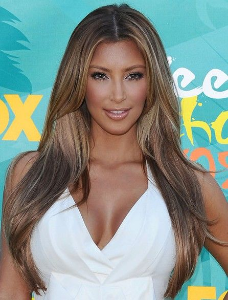 Kim K Long Hair Center Part Middle Part Hairstyles Heart Shaped Face Hairstyles Hair Styles