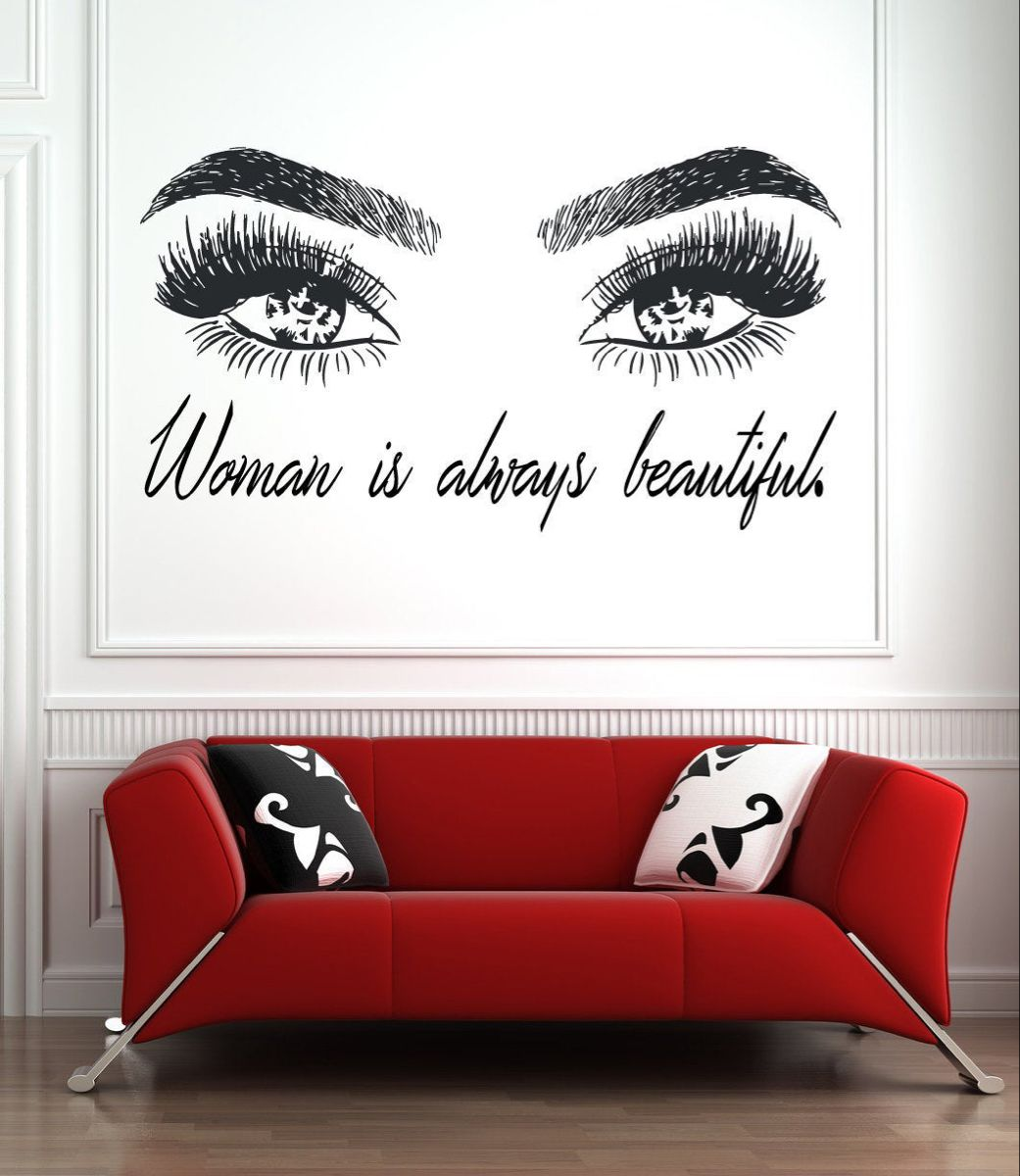 Eyelashes and Eyebrows Wall Decal Lashes and Brows Window Sticker Lashes Extensions Wall Decal Eyes Beauty Salon Wall Art l062