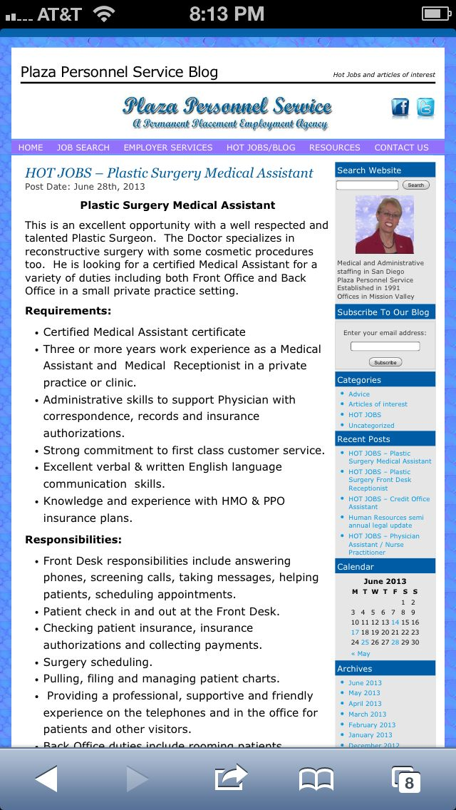 Hiring a Certified Medical Assistant for Plastic Surgeon with - surgeon assistant sample resume