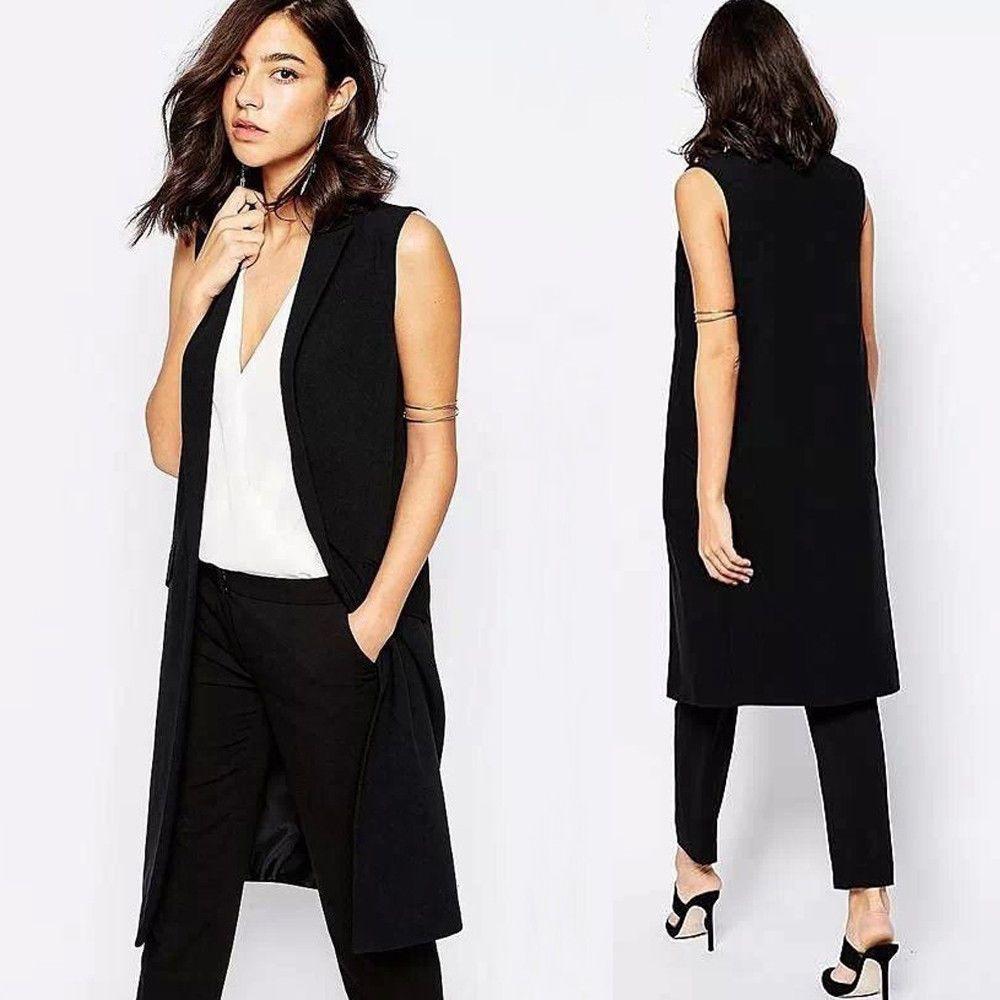 Women Long Cardigan Blazer Vest Suit Vest Jacket Coat Fit Formal ...