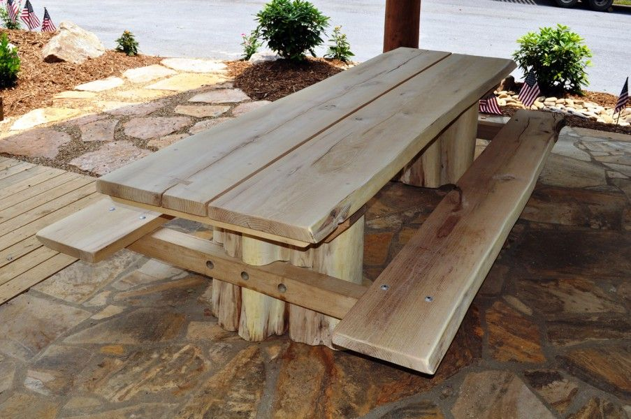 Custom Black Locust Picnic Table With Stump Base And
