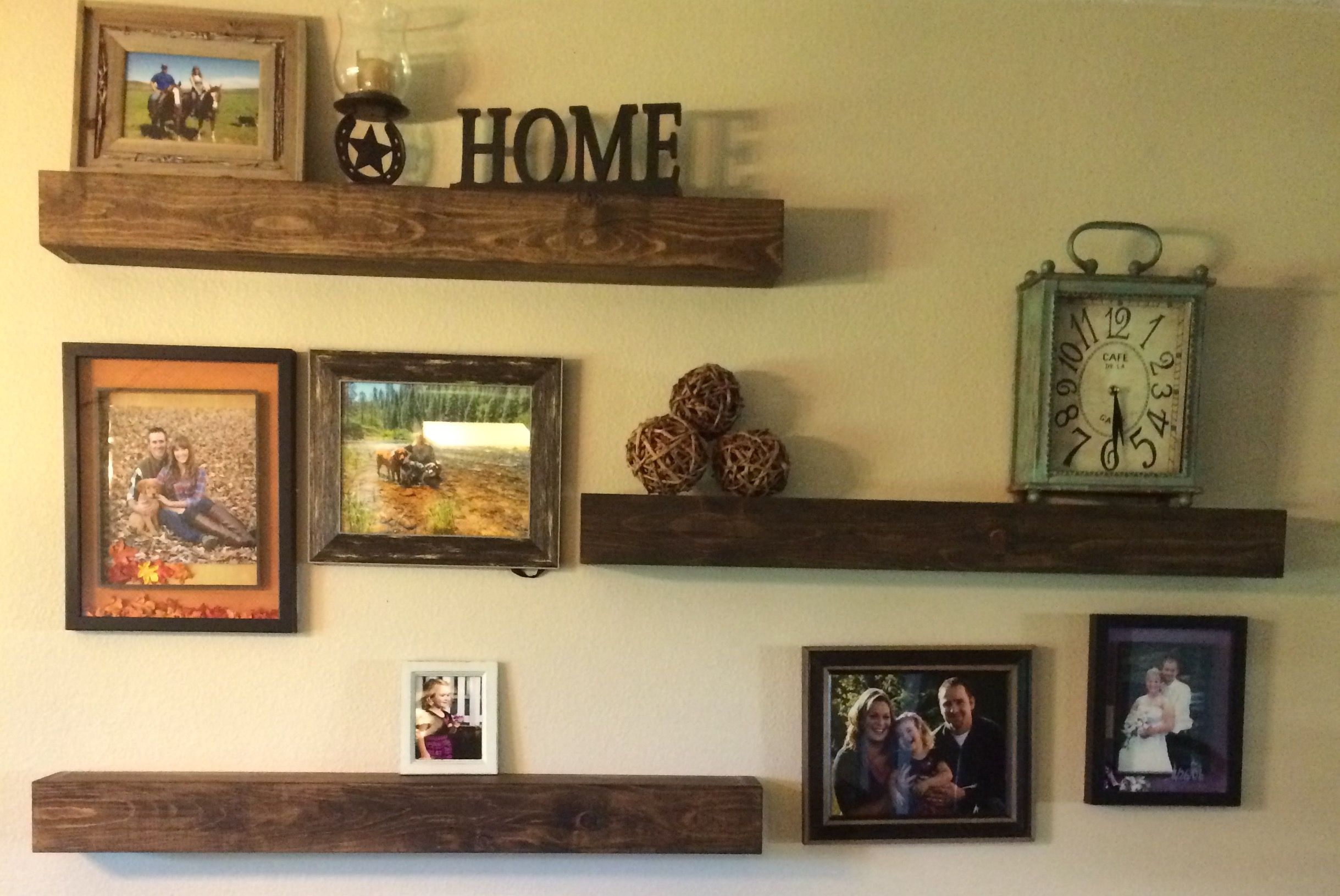 Floating Shelves Made Out Of Pine Boards Simply Slide Over A Sturdy And Easy To Install Hid Floating Shelves Living Room Floating Shelves Floating Shelves Diy
