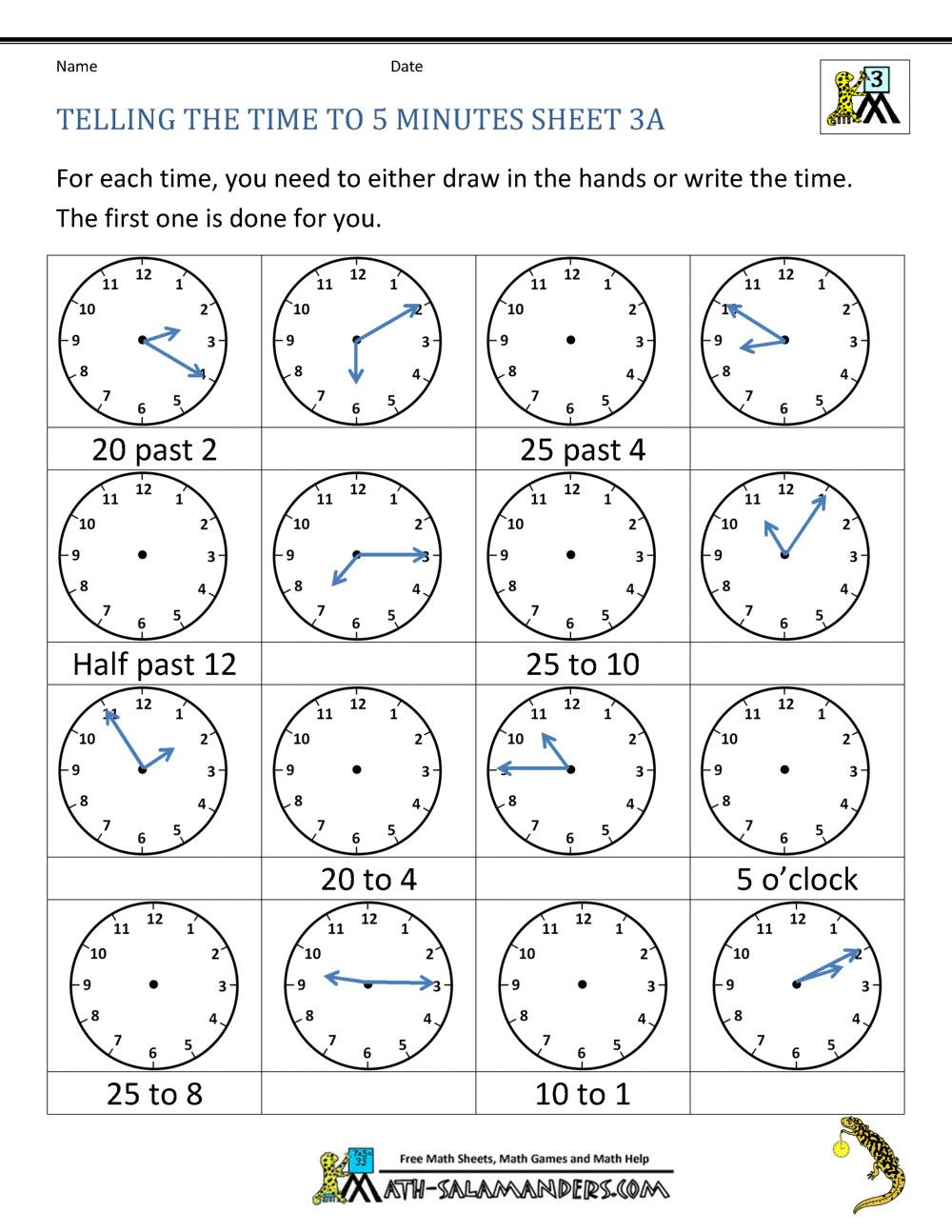 medium resolution of 2 Time Worksheets Grade 2 2 Telling Time Clock Worksheets to 5 minutes   Time  worksheets