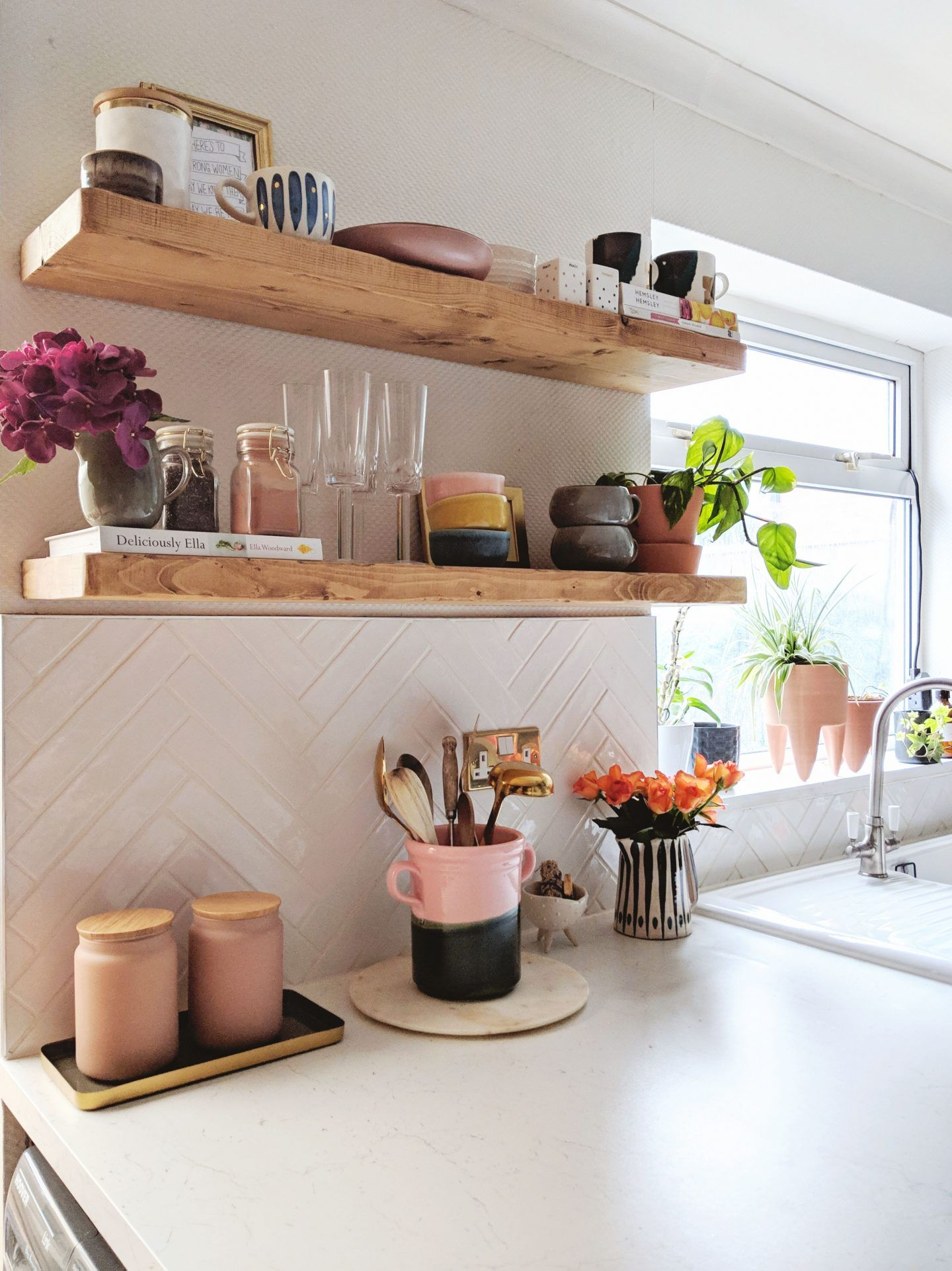 Styling Kitchen Shelves How I Ve Styled My Open Rustic Kitchen Shelving On White Herringbone Tiles Kitchen Shelf Decor Home Decor Kitchen Shelves