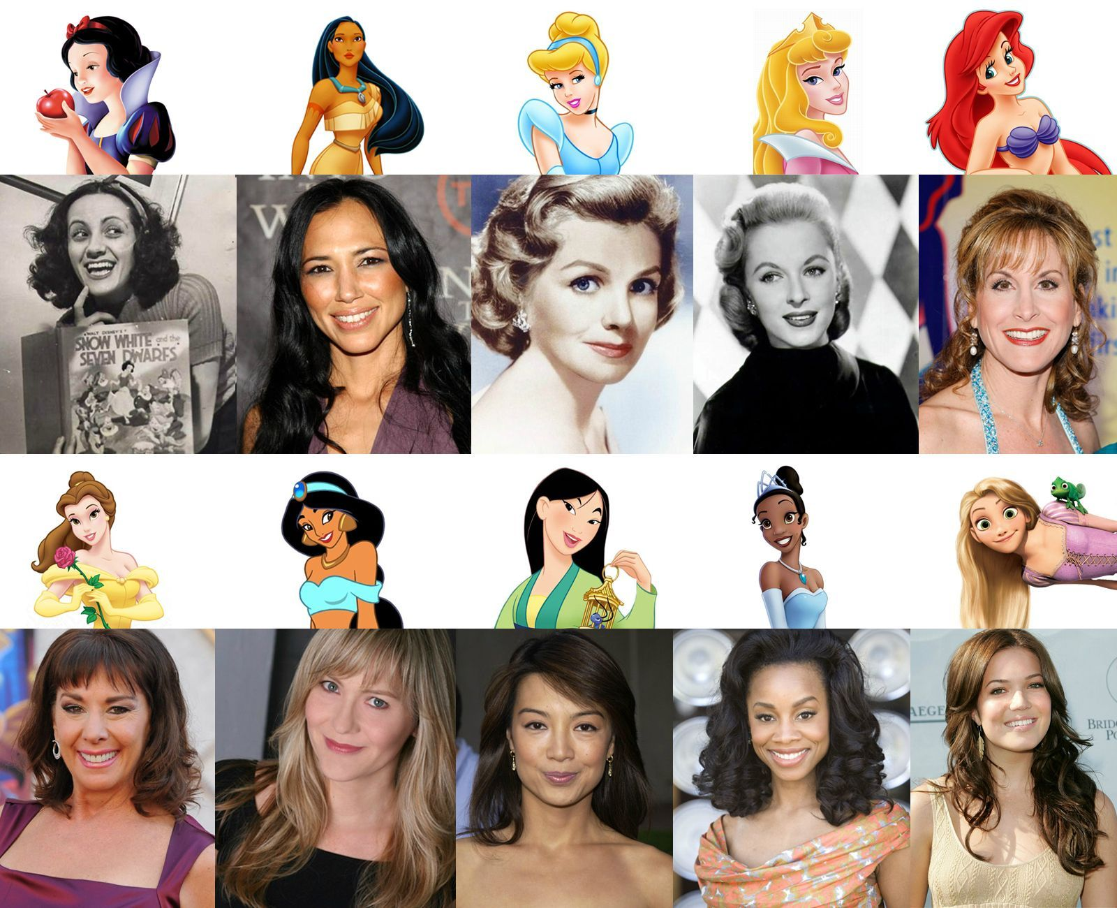 Disney Princesses and their voice actors. Most of these