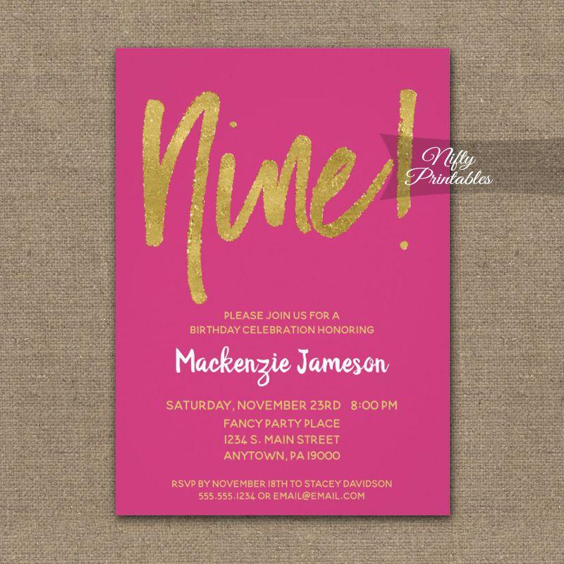 9th Birthday Invitation Hot Pink Gold Script Printed Kids
