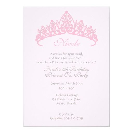 Princess Tiara Tea Party Birthday Invitation Projects to Try - best of invitation birthday party text