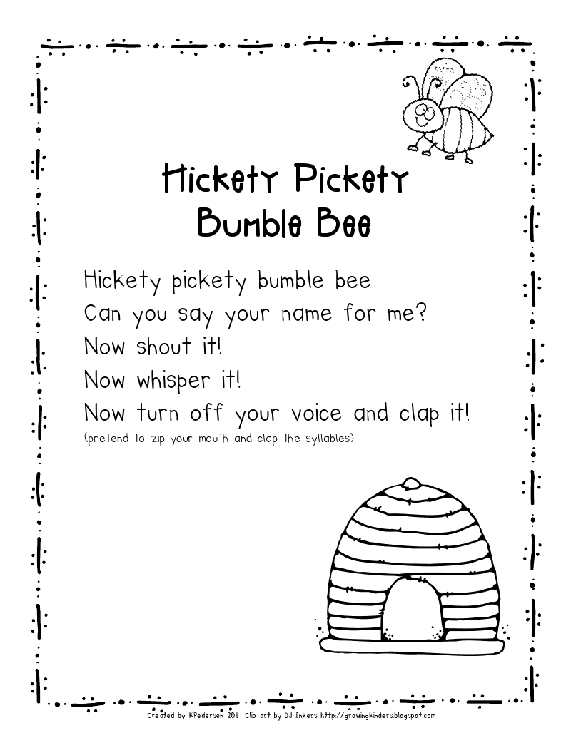 Hickety pickety bumble bee schule pinterest schule for Namensspiele