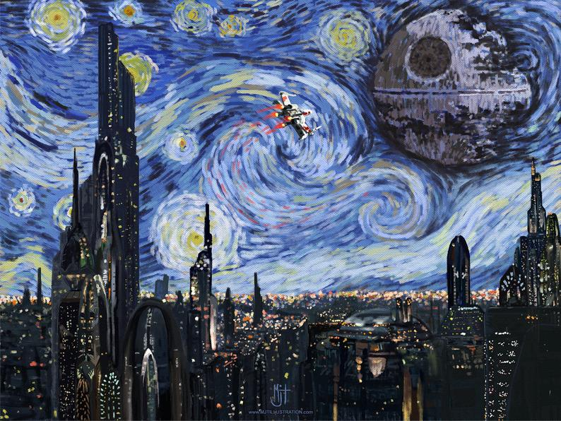 STAR WARS Van Gogh A Starry Wars Night Giclee Art | Etsy