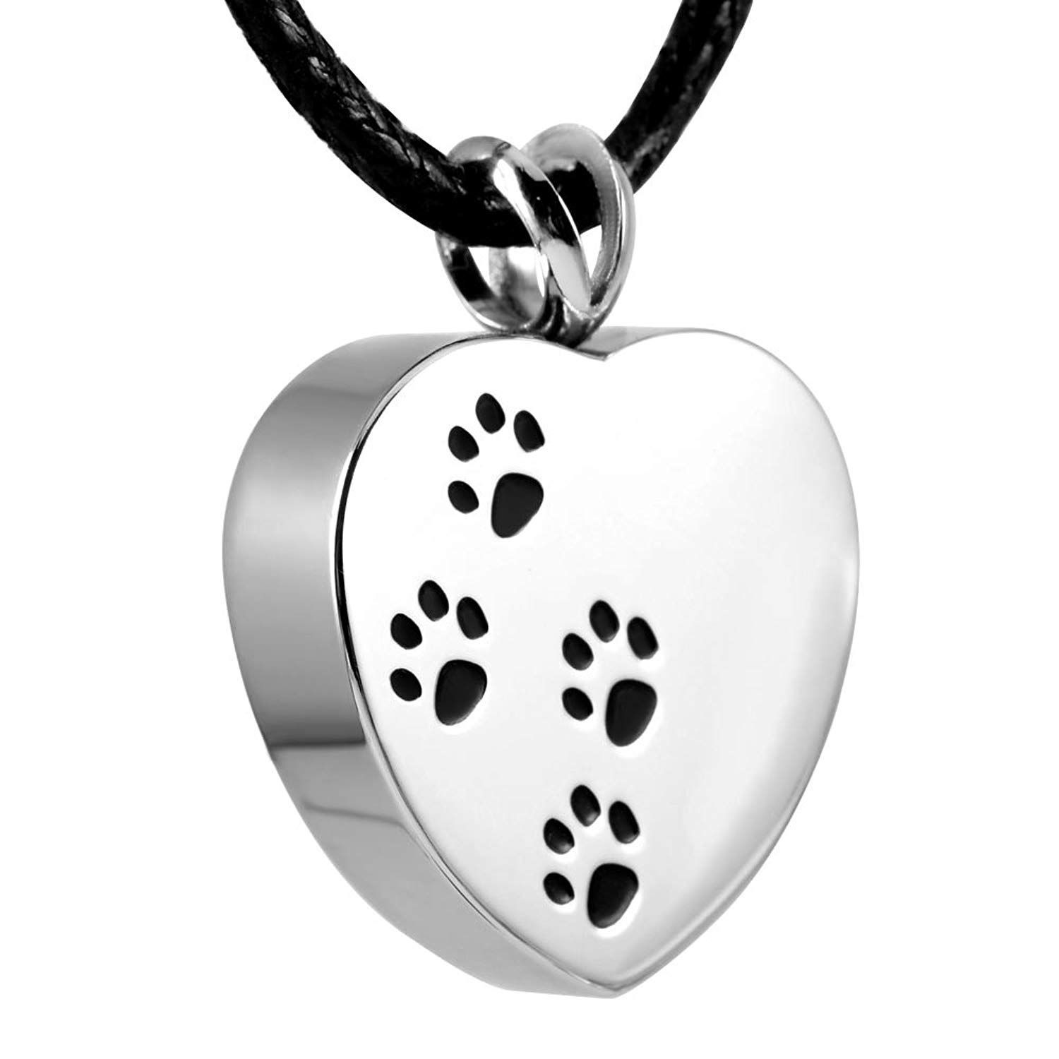 Stainless Steel Silver Black Ash Pet Dog Cat Paw Print Cremation Urn Pendant