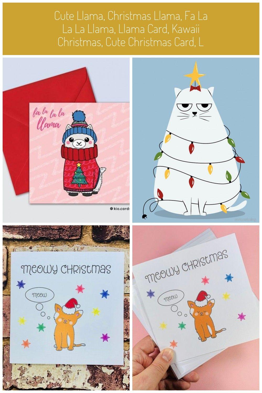 Cute Llama, Christmas Llama, Fa La La La Llama, Llama Card, Kawaii Christmas, Cute Christmas Card,