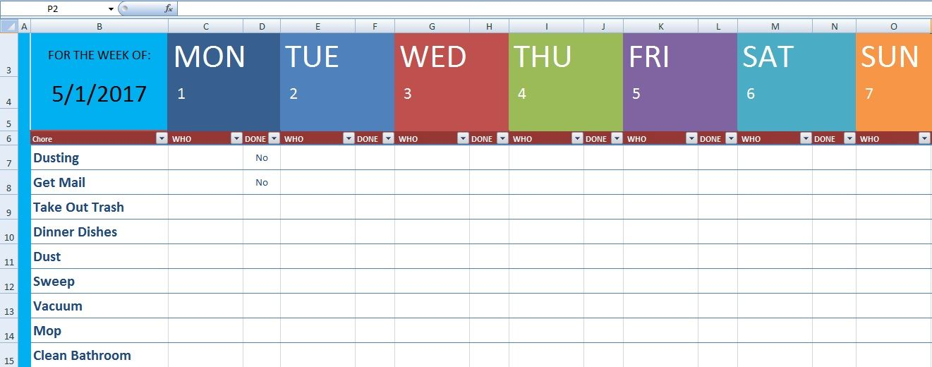 Download Cleaning Schedule Template Xls | Excel Project Management