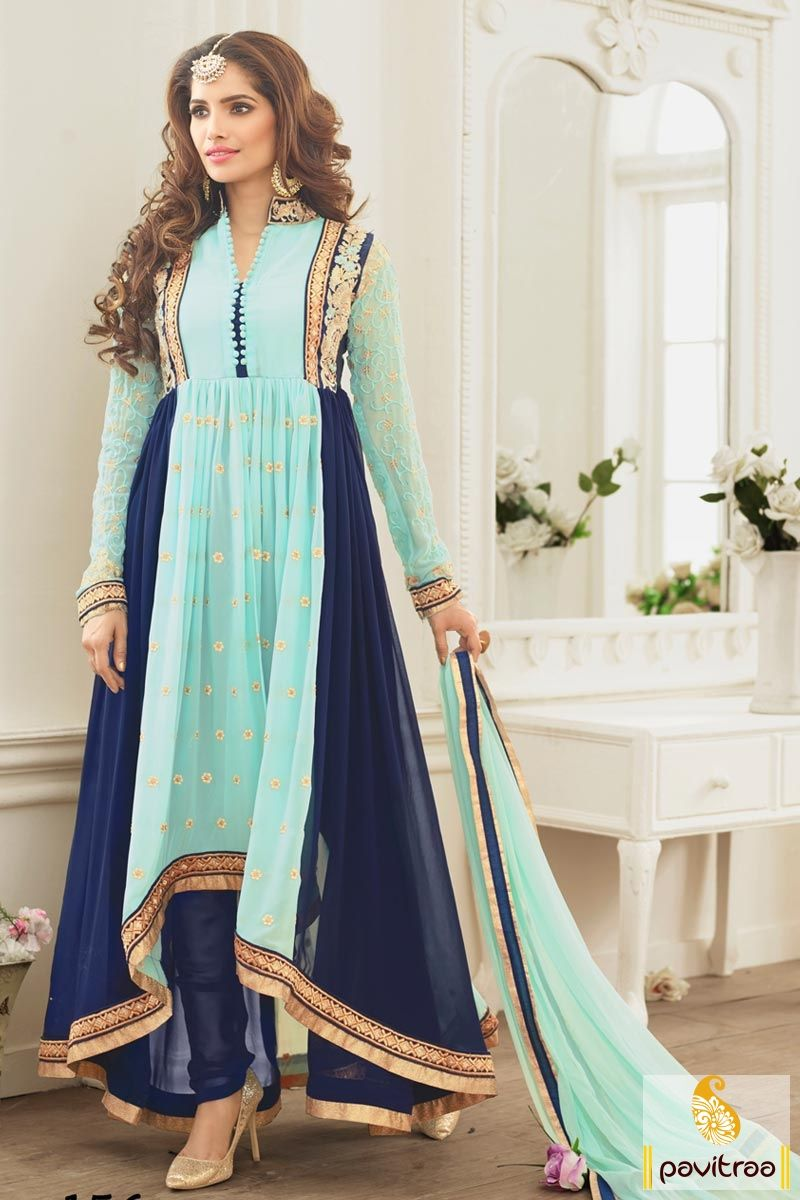 Fashions Myntra Sky Cobalt Blue Wedding Anarkali Dress Online Shopping With Lowest Prices You Can Buy This Stylish From Delhi Ahmadabad